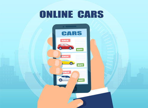 man using mobile app to buy a car