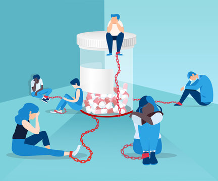 Vector of people opioid addicts chained to the bottle of painkiller pills