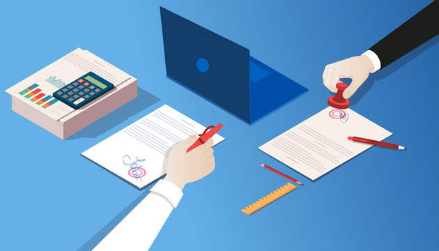Vector of a notary and businessman certifying legal documents by signature and seal stamp