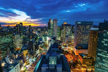 日本の都市、大阪梅田の夜景