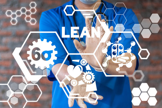 Lean Medicine 6σ Pills Pharmaceuticals Manufacturing Technology Concept.