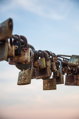 Rusty love padlocks