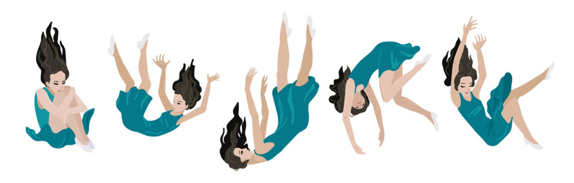 Woman is falling down. Vector isolated illustration