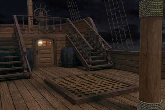 Outside of pirate old ship. Night view of ship background. 3d illustration of deck of a pirate ship. Mixed media.