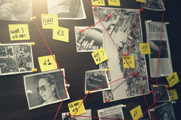 Detective board with crime scenes, photos of suspects and victims, evidence with red threads, vintage toned - fototapety na wymiar