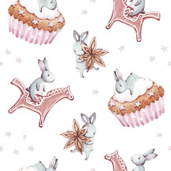 Cute bunny. Hand drawn watercolor seamless pattern with rabbit cartoon animals, birthday cake, anise, gingerbread and star. Celebration and christmas concept. Children party background.Vintage texture
