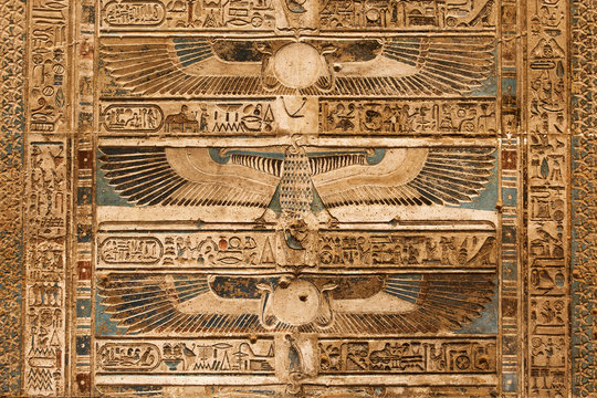 Details of ceiling in Egyptian Temple