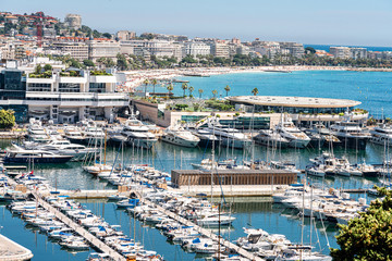 Aerial View Of Luxurious Yachts And Boats In Cannes Harbor Port At Mediterranean Sea Fotomurales