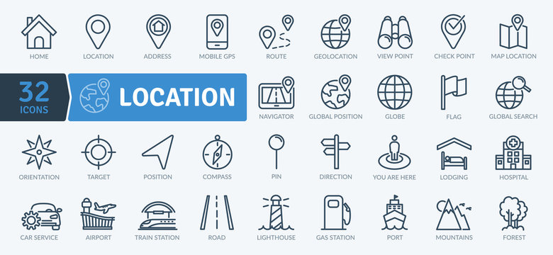 Location Icons Pack. Thin line icons set. Flaticon collection set. Simple vector icons