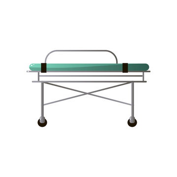 Hospital bed from emergency ambulance section with green mattress