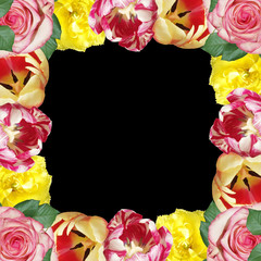 Fototapete - Beautiful floral pattern of roses and tulips. Isolated
