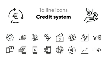 Credit system icons. Set of line icons. Mobile banking app, money diversification, money transfer. Finance concept. Vector illustration can be used for topics like finance, business, banking
