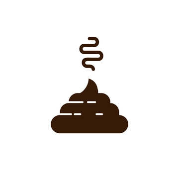 Bunch of shit icon in trendy line style. vector image. Stinky Dog Poop logo symbol sign. Cartoon style poo. Vector illustration image. Isolated on white background.