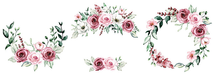 Wreaths with watercolor flowers, floral set frame with pink roses for greeting card, invitation, wedding print and other printing design. Isolated on white. Hand drawing. Fotobehang