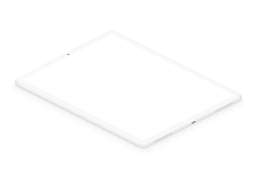Totally soft isometric white pad tablet. 3d realistic empty screen phone template for inserting any UI interface, test or business presentation. Floating soft mock up design perspective view