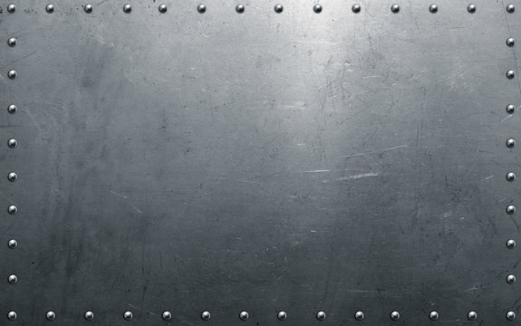Metal background with rivets, polished steel texture