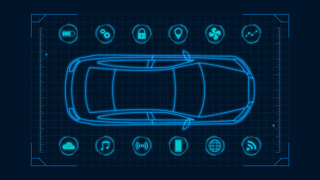 futuristic hud template for an electric car connected online, concept of modern automotive industry and IoT