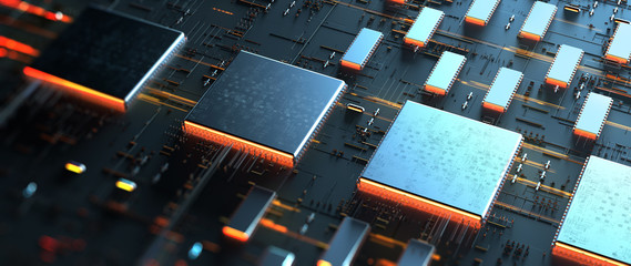Wall Mural - Printed circuit board/Code processing in circuit board abstract server. Data moves in the form of moving lines. The movement and processing of data inside a server or computer. 3d rendering