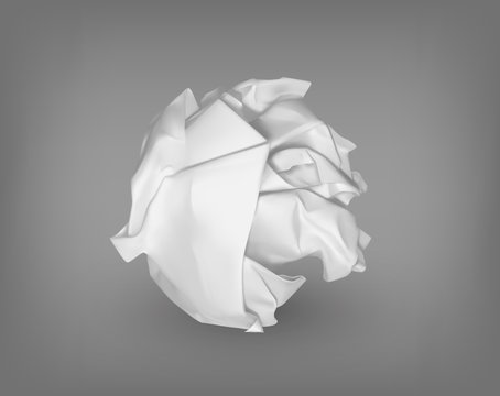 Isolated crumpled or scrunched paper ball.