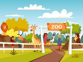Zoo vector cartoon illustration or petting zoo with animals and visitors family and children