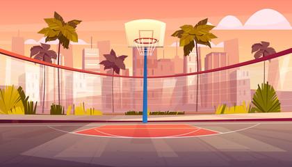 Vector cartoon background of street basketball court