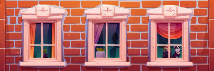 Windows of house or castle, brick wall facade