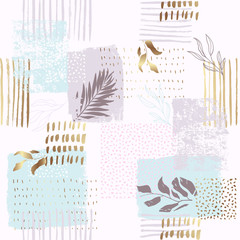 Seamless exotic pattern with tropical plants and gold elements. Vector