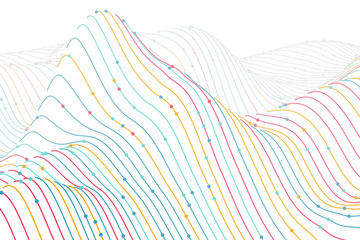 3D digital colored wireframe landscape on white background. Sound waves abstract visualization. Concept of big data charts analysis and information technology. Vector illustration of sound waves flow.