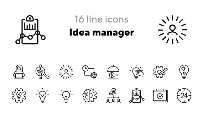 Idea manager line icon set. Shining lightbulb, gear, bulb. Business concept. Can be used for topics like new project, startup, leader, innovation