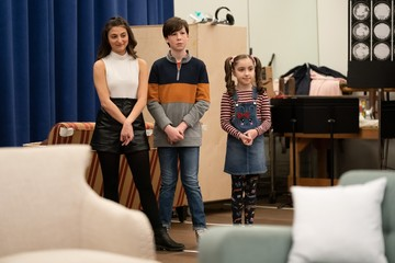 Analise Scarpaci, Jake Ryan Flynn, Avery Sell Photo Call for MRS. DOUBTFIRE Meet and Greet with Cast and Creative Team
