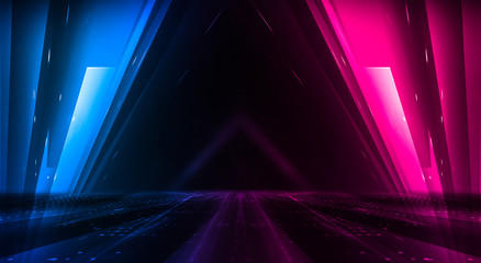 Fotomurales - Dark abstract futuristic background. Neon lines glow. Neon lines, shapes. Pink-blue glow. Empty Stage Background