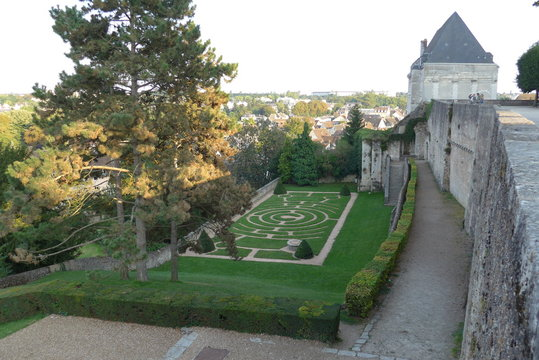 Chartres (France), September 2014. Center-Val-de-Loire, Chartres labyrinth in Chartres Cathedral garden with views of the old town of Basse Ville