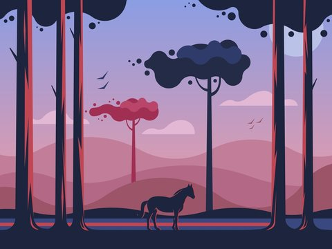 Horse walking in the autumn forest on a background of hills at dawn