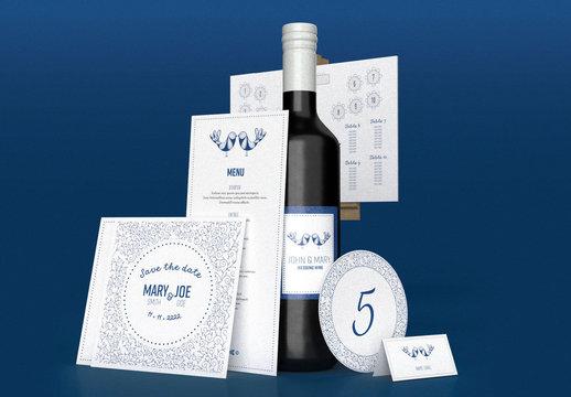 Blue and White Wedding Set Layout