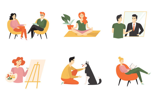 Set of cute people caring about their mental health. Practicing psychotherapy, meditation, art therapy, affirmation, read books and communicate with animals. Vector flat cartoon illustration