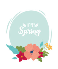 Wall Mural - happy spring lettering flowers foliage round banner