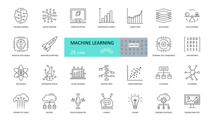 Set of machine learning icons. 25 editable stroke icons. Artificial intelligence, neural networks, mathematical model, patterns, chatbots, linear regression in data science and business analytics.