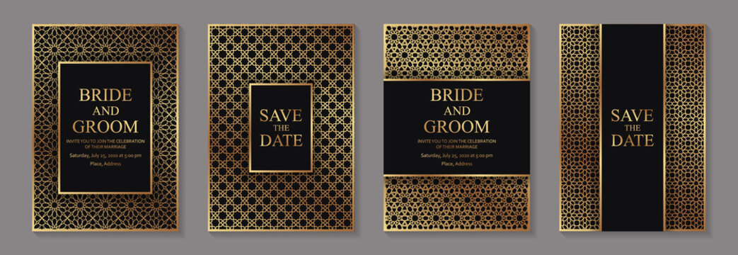Set of modern arabic luxury wedding invitation design or card templates for business or presentation or greeting with traditional golden ornament on a black background.