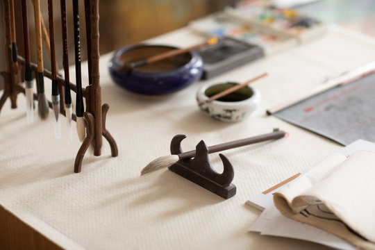 Ink brush and Chinese calligraphy