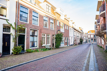 Utrecht, Netherlands - January 06, 2020. Picturesque street with traditional  dutch houses
