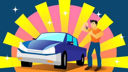 The cartoon illustration picture of a man holds remote car's key and stands beside a pickup truck. ( vector )