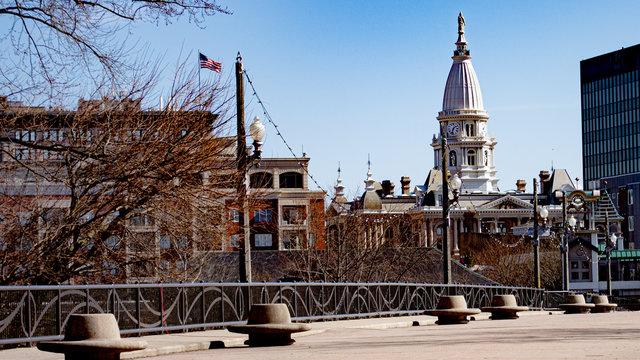 Lafayette Indiana Courthouse from walking bridge