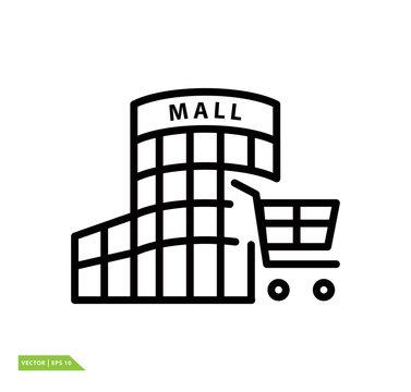 Building mall icon vector logo design template