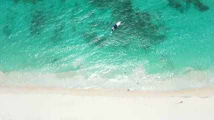 Fototapete - Tropical island white sand and turquoise caribbean sea. Travel destinations. Summer holidays
