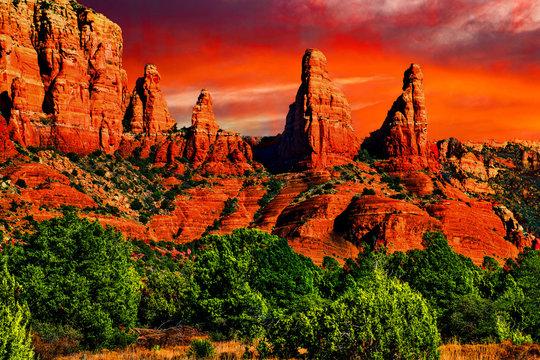 Sedona, Arizona mountain landscape, sunrise on the desert floor.