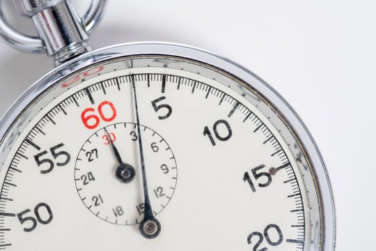 Classic 60 second stopwatch on white background