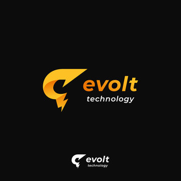 evolt technology with bolt lightning power energy icon and letter E and G logo icon symbol