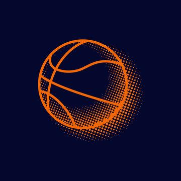 Basketball halftone clip art graphic illustration icon logo vector