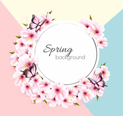 Wall Mural - Spring nature background with a pink sakura branch. Vector
