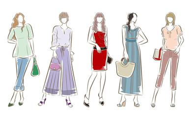 Obraz 女性のファッションイラスト - fototapety do salonu